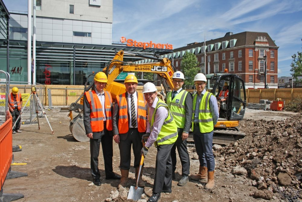From left, Matthew Secker (British Land), Simon Gregory (MD Lindum Group), Tony van der Vliet (St Stephen's Deputy Manager), Ian Perrell (Harris Partnership) and Daniel Jamieson (Fox Lloyd Jones) at the groundbreaking ceremony for the refurbishment at St Stephen's shopping centre.